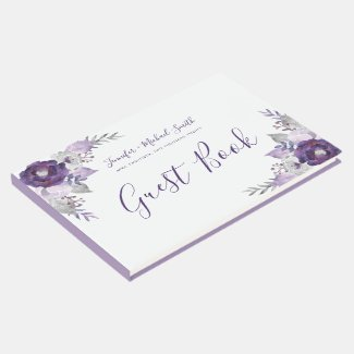 Purple and Silver Watercolor Floral Wedding Guest Guest Book