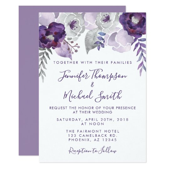 Purple Flower Wedding Invitations: Purple And Silver Watercolor Floral Wedding Invitation