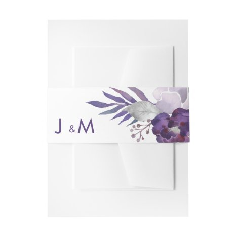 Purple and Silver Watercolor Floral Wedding Invitation Belly Band