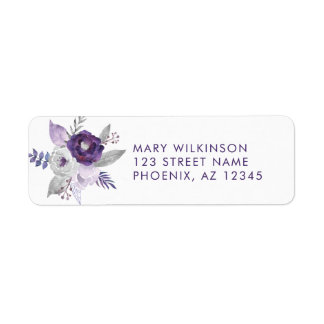 Purple and Silver Watercolor Floral Wedding Label