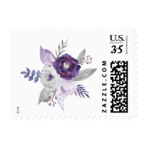 Purple and Silver Watercolor Floral Wedding Postage