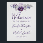"Purple and Silver Watercolor Floral Wedding Poster<br><div class=""desc"">This poster has light and dark purple watercolor flowers,  leaves and silver floral elements. The copy is fully editable. You can also change the font. This poster has matching invitations,  envelopes,  labels and stamps. Make all your wedding items coordinate!</div>"
