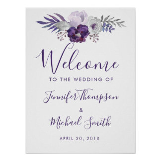 Purple and Silver Watercolor Floral Wedding Poster
