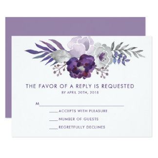 Purple and Silver Watercolor Floral Wedding RSVP Invitation