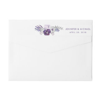 Purple and Silver Watercolor Floral Wedding Wrap Around Label