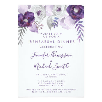 Purple and Silver Watercolor Rehearsal Dinner Invitation