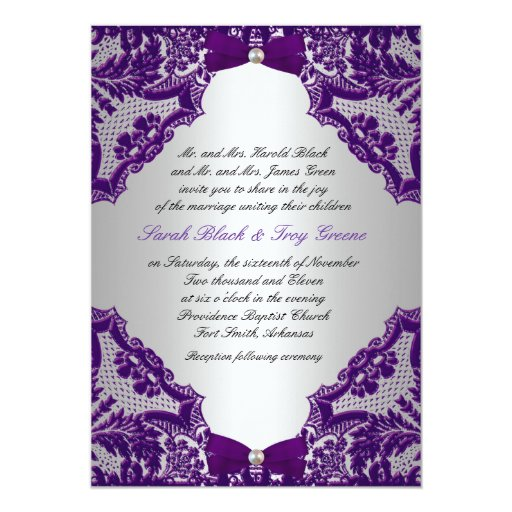 Silver And Purple Blank Invitations