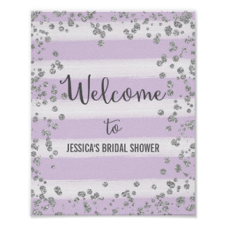 Purple and Silver Welcome Poster Print