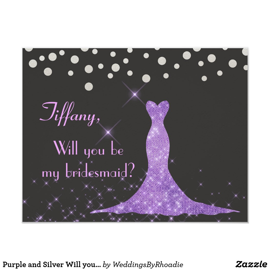 Purple and Silver Will you be my bridesmaid?