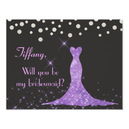 Purple and Silver Will you be my bridesmaid? Card