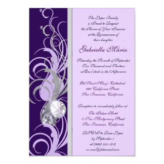 Purple and Silvery Custom Quinceanera Invitations