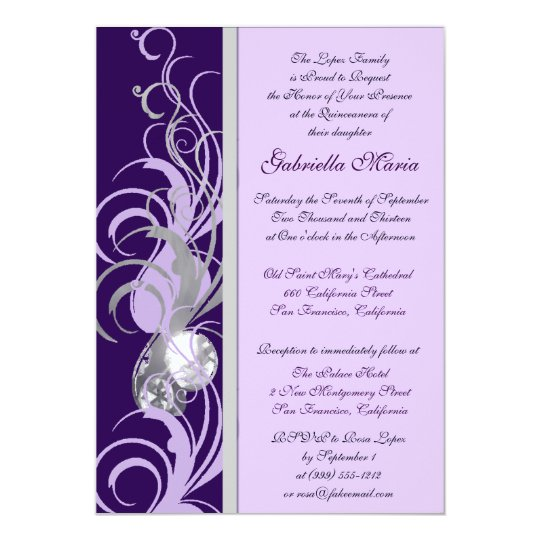 Purple And Silvery Custom Quinceanera Invitations Zazzle Com