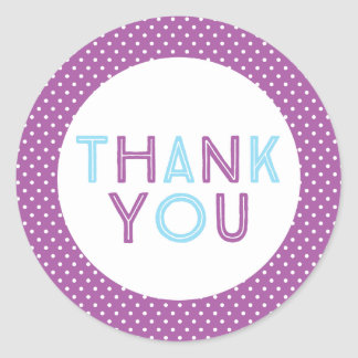 Purple and Sky Blue Polka Dot Thank You Classic Round Sticker