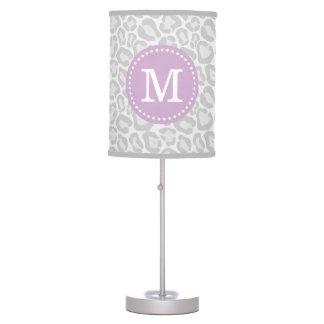 Purple and Snow Leopard Print Custom Monogram Table Lamp