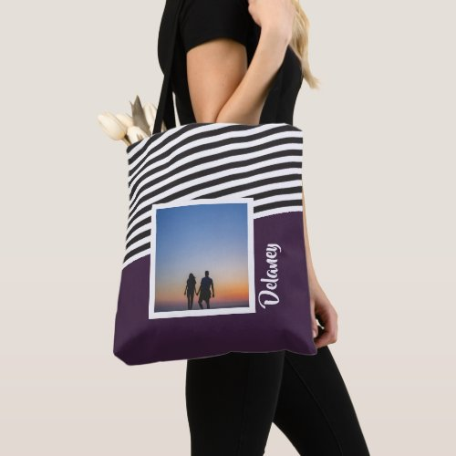 Purple and Striped Pattern Personalized Photo Tote Bag