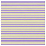 [ Thumbnail: Purple and Tan Colored Stripes Pattern Fabric ]