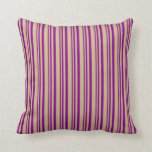 [ Thumbnail: Purple and Tan Lined/Striped Pattern Throw Pillow ]