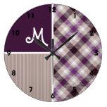 Purple and Tan Plaid Clock