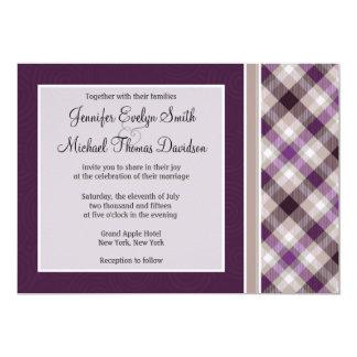 "Purple and Tan Plaid 5"" X 7"" Invitation Card"