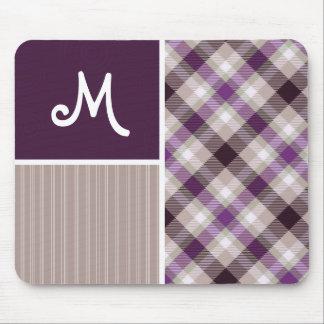 Purple and Tan Plaid Mousepads