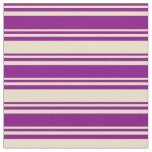 [ Thumbnail: Purple and Tan Stripes/Lines Pattern Fabric ]