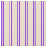 [ Thumbnail: Purple and Tan Stripes Pattern Fabric ]