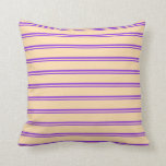 [ Thumbnail: Purple and Tan Stripes Pattern Throw Pillow ]