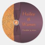 "Purple and Tangerine 1.5"" Diameter Round Sticker"