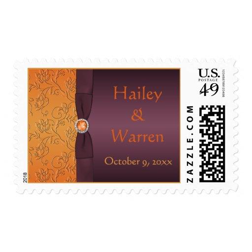 Purple and Tangerine Monogrammed Postage
