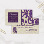 Purple and Taupe Damask Professional Business Business Card