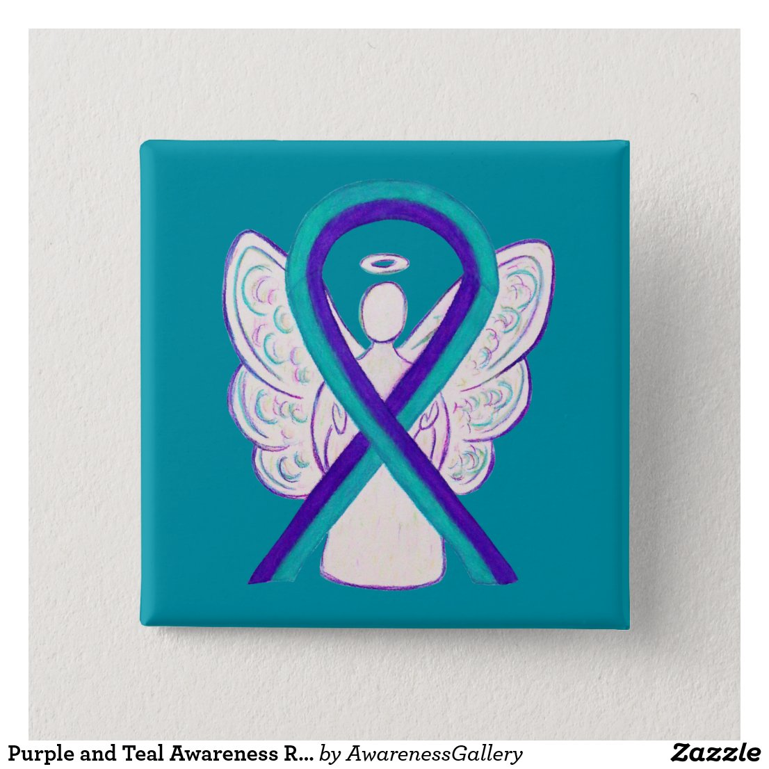 Purple and Teal Awareness Ribbon Angel Button Pin