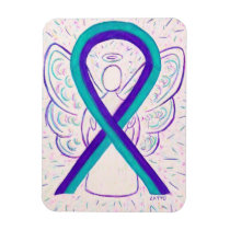 Purple and Teal Awareness Ribbon Angel Magnets