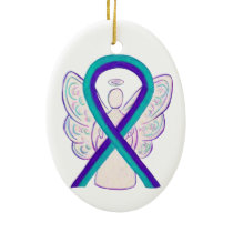 Purple and Teal Awareness Ribbon Angel Ornament