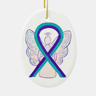 Purple and Teal Awareness Ribbon Angel Ornament