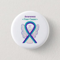 Purple and Teal Awareness Ribbon Angel Pin Button