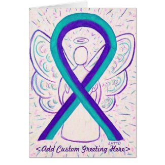 Purple and Teal Awareness Ribbon Art Greeting Card