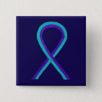 Purple and Teal Awareness Ribbon Custom Button Pin