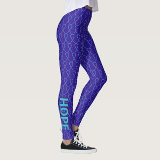 Purple and Teal Awareness Ribbon Custom Leggings