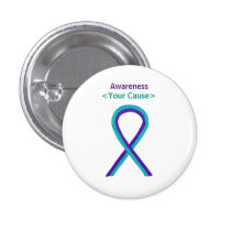 Purple and Teal Awareness Ribbon Custom Pin Button