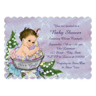 Purple and Teal Blue Baby Bath Baby Shower Custom Invitations