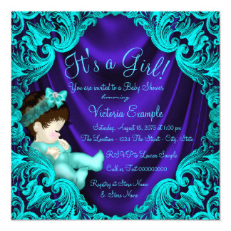 Purple and Teal Blue Baby Shower Card