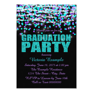Purple and Teal Blue Confetti Graduation Party Card
