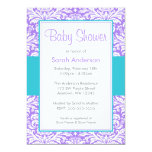 Purple and Teal Blue Damask Baby Shower 5x7 Paper Invitation Card