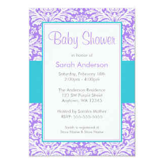 Purple and Teal Blue Damask Baby Shower Card