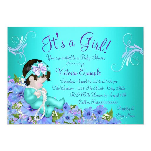 purple and teal blue floral baby shower card zazzle