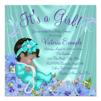 Purple and Teal Blue Floral Ethnic Baby Shower Card