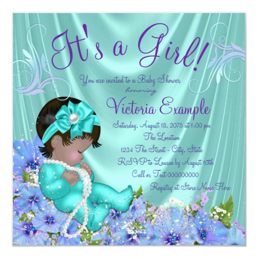 purple and teal blue floral ethnic baby shower card zazzle