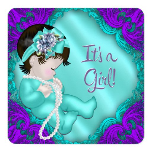 purple and teal blue girl baby shower invitation zazzle
