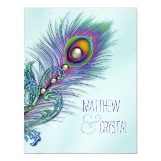 Purple and Teal Blue Peacock Wedding Invitation