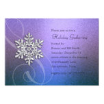 "Purple and Teal Blue Snowflake Party Invitation 5"" X 7"" Invitation Card"